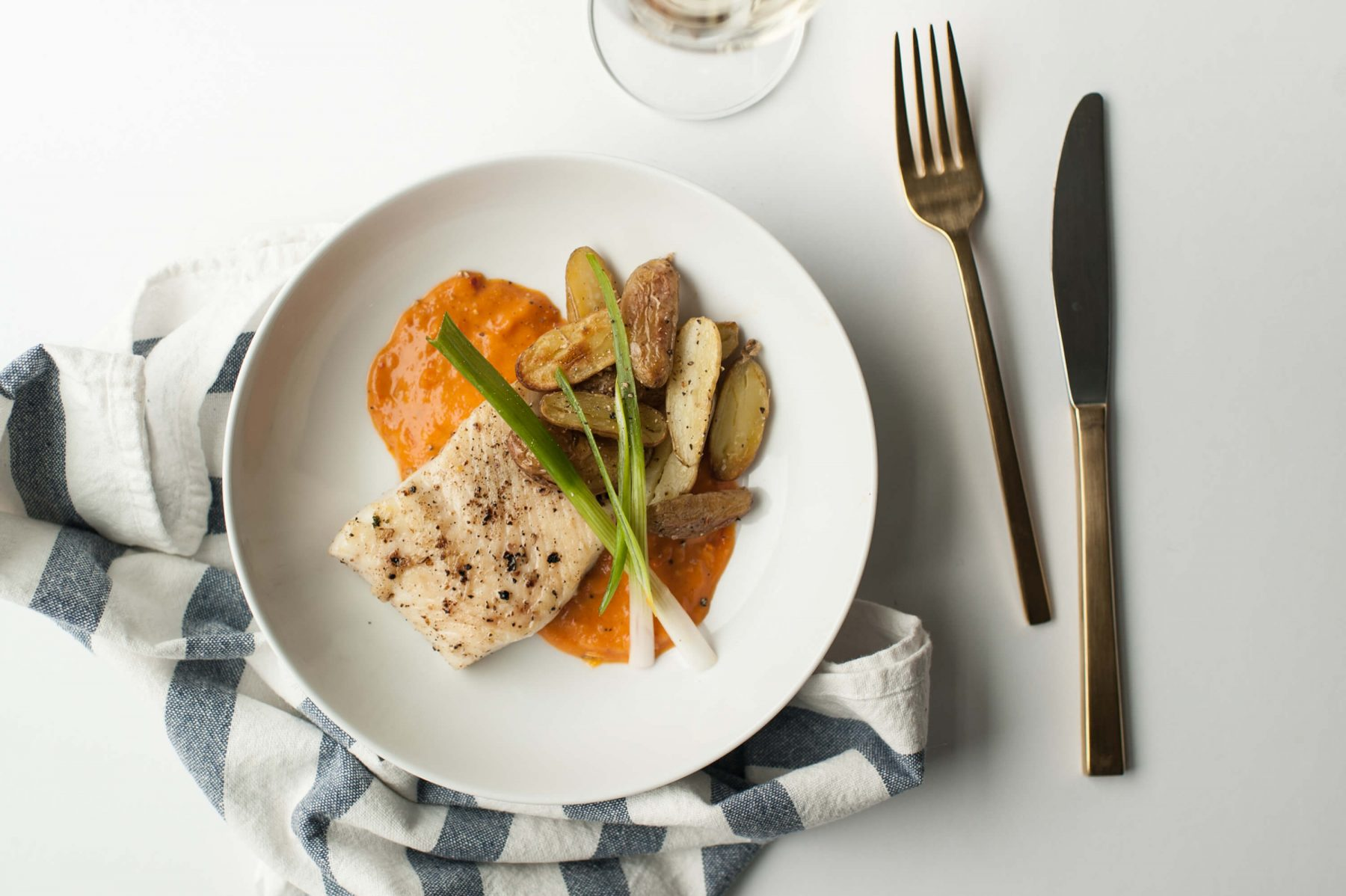 Roasted Halibut With Yellow Pepper Tomato Sauce